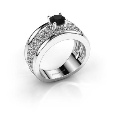 Foto van Ring Alicia 950 platina zwarte diamant 1.41 crt