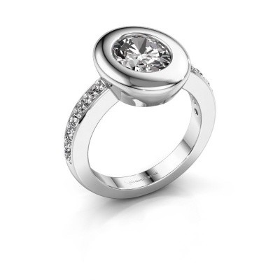 Ring Selene 2 585 witgoud zirkonia 9x7 mm