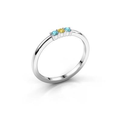 Foto van Verlovings ring Yasmin 3 950 platina gele saffier 2 mm