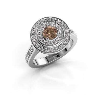 Foto van Ring Alecia 2 950 platina bruine diamant 0.99 crt