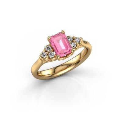 Foto van Aanzoeksring Myrna EME 375 goud roze saffier 7x5 mm