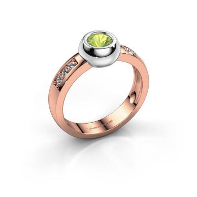 Ring Charlotte Round 585 rosé goud peridoot 4.7 mm