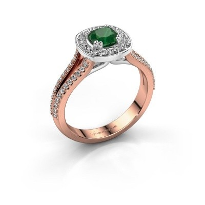 Engagement ring Carolina 2 585 rose gold emerald 5 mm