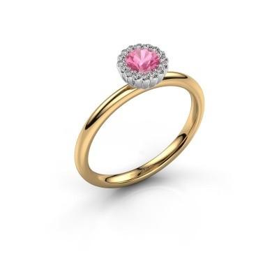 Verlovingsring Queen 585 goud roze saffier 4.2 mm