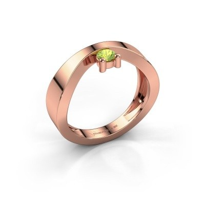 Verlovingsring Elisabeth 375 rosé goud peridoot 3.4 mm