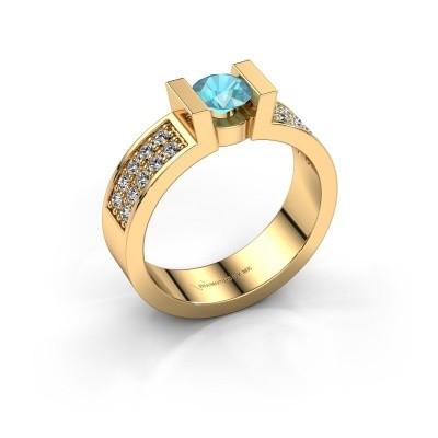 Verlovingsring Lieve 3 375 goud blauw topaas 5 mm