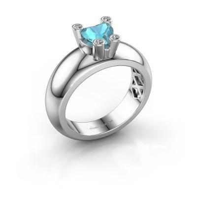 Ring Cornelia Heart 585 Weißgold Blau Topas 6 mm