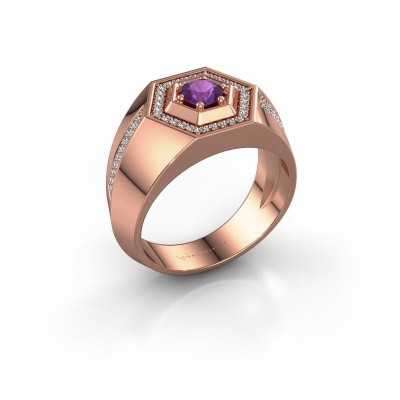 Men's ring Sjoerd 375 rose gold amethyst 4.7 mm