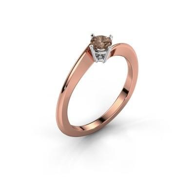 Foto van Verlovingsring Ingrid 585 rosé goud bruine diamant 0.25 crt