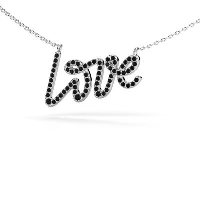 Hanger Love 585 witgoud zwarte diamant 0.428 crt