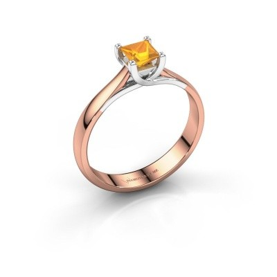 Engagement ring Mia Square 585 rose gold citrin 4 mm
