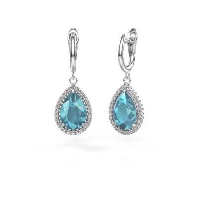 Picture of Drop earrings Hana 1 950 platinum blue topaz 12x8 mm