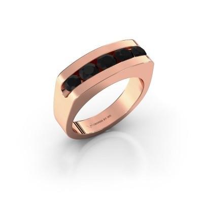 Men's ring Richard 375 rose gold black diamond 1.332 crt