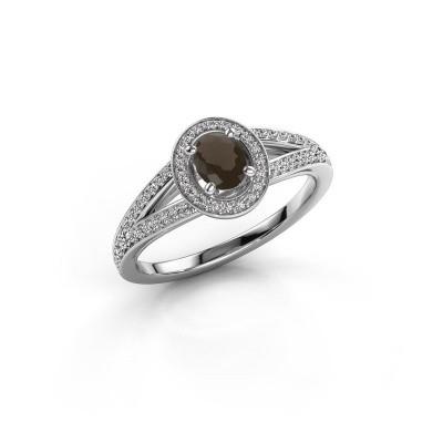 Verlovings ring Angelita OVL 950 platina rookkwarts 6x4 mm