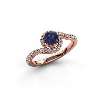 Engagement ring Elli 375 rose gold sapphire 5 mm