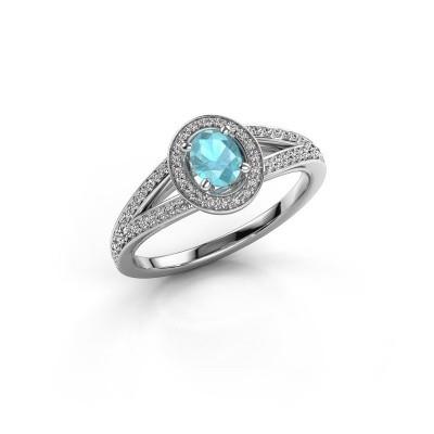 Verlovings ring Angelita OVL 950 platina blauw topaas 6x4 mm