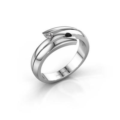 Foto van Ring Dena 925 zilver zwarte diamant 0.066 crt