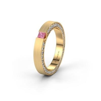 Wedding ring WH2140L14B 375 gold pink sapphire ±3,5x2 mm
