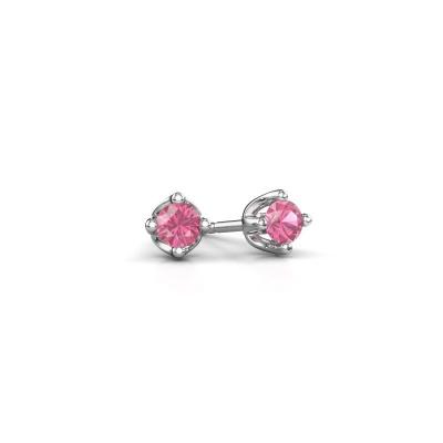 Foto van Oorknopjes Briana 950 platina roze saffier 3.7 mm