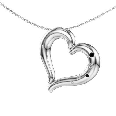 Ketting Pei 925 zilver zwarte diamant 0.092 crt
