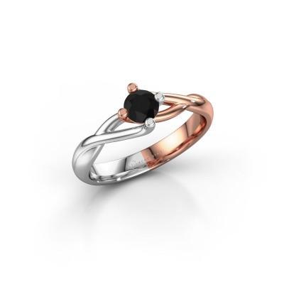 Foto van Ring Paulien 585 rosé goud zwarte diamant 0.36 crt