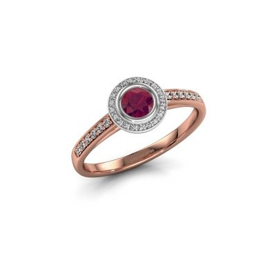 Engagement ring Noud 2 RND 585 rose gold rhodolite 4 mm
