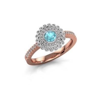 Engagement ring Shanelle 585 rose gold blue topaz 4 mm