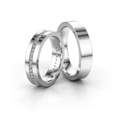 Bild von Trauringe set WH0103LM15BP ±5x2 mm 14 Karat Weißgold Diamant 0.44 crt