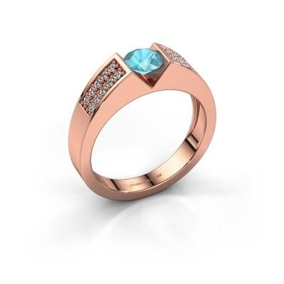 Verlovingsring Lizzy 3 375 rosé goud blauw topaas 5 mm