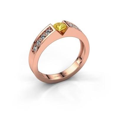 Foto van Verlovingsring Lizzy 2 375 rosé goud gele saffier 4.2 mm