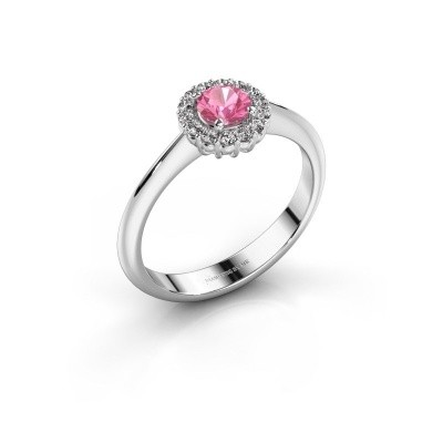 Verlovingsring Anca 950 platina roze saffier 4.2 mm