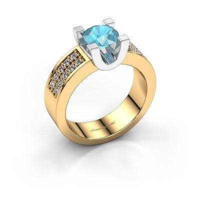 Foto van Verlovings ring Sara 3 585 goud blauw topaas 6.5 mm