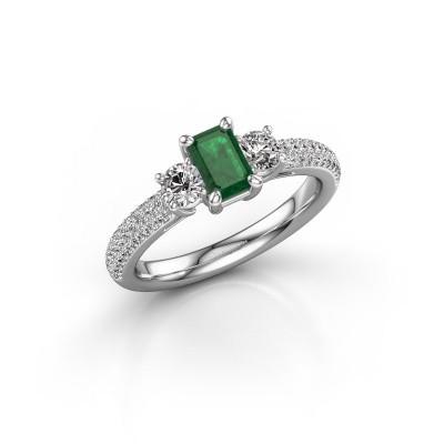Foto van Verlovingsring Marielle EME 925 zilver smaragd 6x4 mm