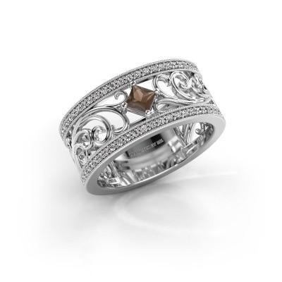 Ring Danae 585 witgoud rookkwarts 3 mm