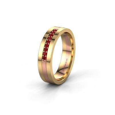 Trouwring WH0413L15AP 585 rosé goud robijn ±5x1.7 mm