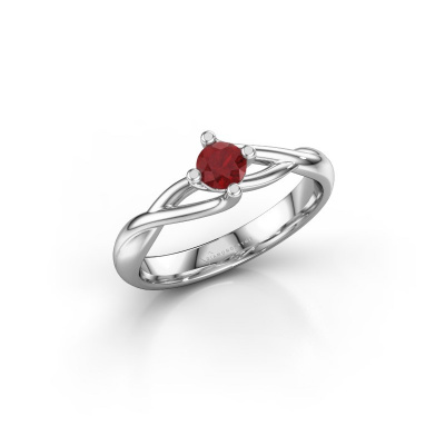 Picture of Engagement ring Paulien 925 silver ruby 4 mm