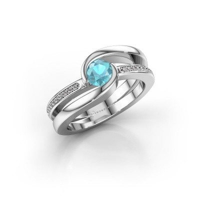 Picture of Ring Xenia 375 white gold blue topaz 5 mm