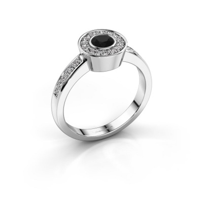 Ring Adriana 2 925 zilver zwarte diamant 0.503 crt