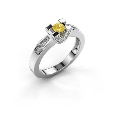 Verlovingsring Jasmijn 2 925 zilver gele saffier 4 mm