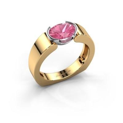 Ring Tonya 585 goud roze saffier 8x6 mm