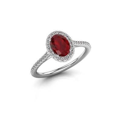 Engagement ring Seline 2 585 white gold ruby 7x5 mm