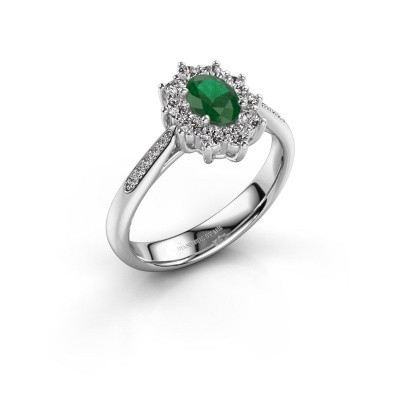 Picture of Engagement ring Leesa 2 950 platinum emerald 6x4 mm