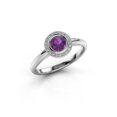 Promise ring Noud 1 RND 950 platinum amethyst 4.7 mm