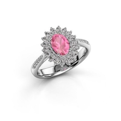 Engagement ring Alina 2 585 white gold pink sapphire 7x5 mm