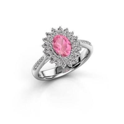 Aanzoeksring Alina 2 585 witgoud roze saffier 7x5 mm