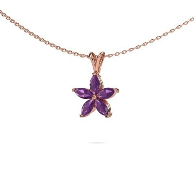 Picture of Necklace Sylvana 375 rose gold amethyst 5x2.5 mm