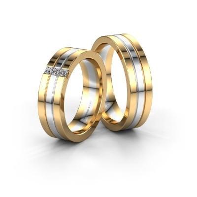 Bild von Eheringe set WH0428LM16BP ±6x2 mm 14 Karat Gold Diamant 0.05 crt