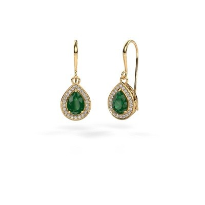 Picture of Drop earrings Beverlee 1 375 gold emerald 7x5 mm