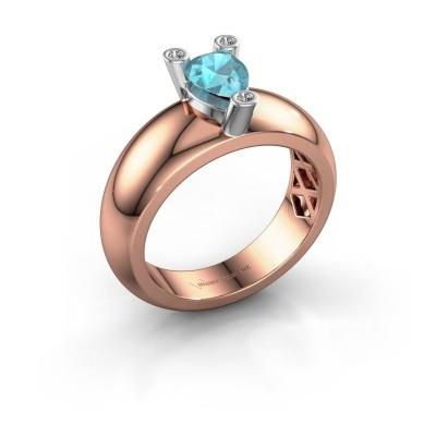 Ring Cornelia Pear 585 Roségold Blau Topas 7x5 mm