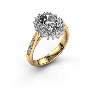 Verlovingsring Margien 2 585 goud zirkonia 7x5 mm